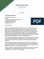Carta (Comite Finanzas) Depto. de Salud y Servicios Humanos Federal Con Relación a La Corrupción en P.R. y Fondos Medicaid