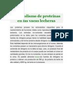 Metabolismo de Proteínas en Las Vacas Lecheras
