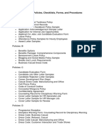 Human Resources Policies, Checklists, Forms, And Procedures