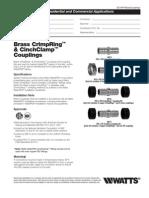 WaterPEX BrassCouplings Specification Sheet