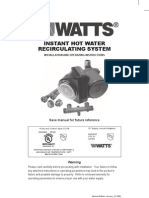 INSTANT HOT WATER RECIRCULATING SYSTEM Installation Instructions