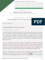 A Desigualdade No Ensino Brasileiro - Banco de Redações - UOL Educação