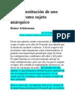 De La Constitución de Uno Mismo Como Sujeto Anárquico_Reiner Schürmann