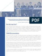 Massachusetts DHE Proposed Regulations Regarding Financial Monitoring of Institutions