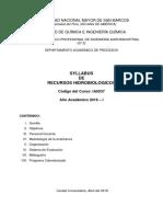 Silabo Recursos Hidrobiologicos 2019 -i