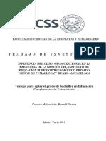 """INFLUENCIA DEL CLIMA ORGANIZACIONAL EN LA EFICIENCIA DE LA GESTIÓN DEL INSTITUTO DE EDUCACIÓN SUPERIOR TECNOLÓGICO PRIVADO """"SEÑOR DE PUMALLUCAY"""" HUARI – ANCASH, 2019"""