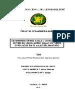 Determinación Del Ángulo de Inclinación Optimo Para Un Colector Solar Tubos de Vacio en Valle Del Mantaro