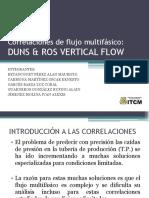 Correlaciòn de duns y Ros para flujo vertical