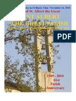 Novemebr 14 2010 Anniversary Bulletin