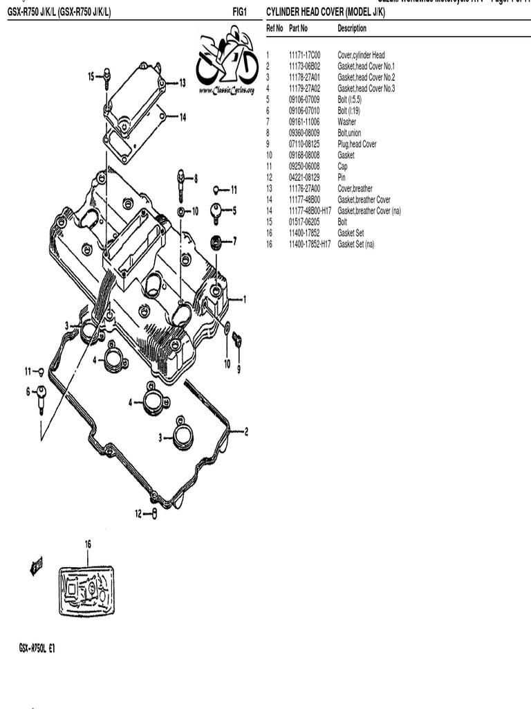 Suzuki GSX-R750 GSXR 750 Illustrated Parts List Diagram