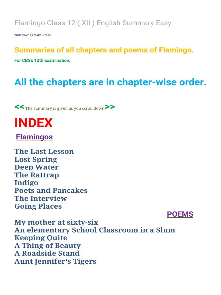 290624921-Flamingo-Class-12-XII-English-Summary-Easy-1 pdf