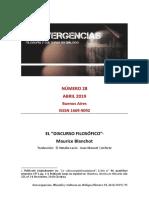 """EL """"DISCURSO FILOSÓFICO""""  Maurice Blanchot ."""