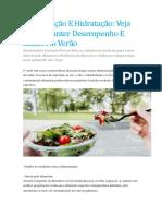 Alimentação E Hidratação Veja Como Manter Desempenho E Saúde No Verão