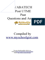 Yabatech Post Utme Past Questions and Answers