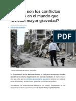 Cuáles Son Los Conflictos Actuales en El Mundo Que Revisten Mayor Gravedad