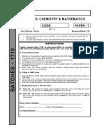 Jee Adv Crp (Ph-1) (Paper - 1) Set - b