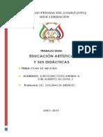 PLAN DE MEJORA ARTISTICA 7° GRADO SAN PABLO  2019