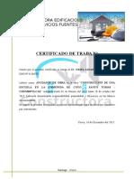 Certificado de Trabajo Ayudante de Obra