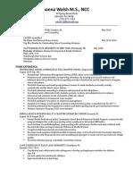 resume for joanna walsh