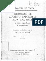Mostny 1964 - Epistolario de Augusto Capdeville Con Max Uhle - Tomo 2