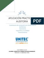 Cuestionario de Evaluación de Control Interno de Efectivo, Inversiones, Impuestos, Financiamiento.