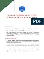 Declaracion Apimondia Fraude Miel