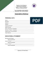 Teachers Profile