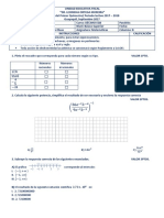 Examen de Matemáticas 10mo