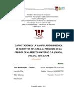 PROYECTO BPF Capacitacion en Manipyulacion de Alimentos en FAUCA