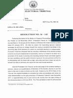 SET Tolentino v de Lima Resolution No. 16 142 Dated 21 February 2019