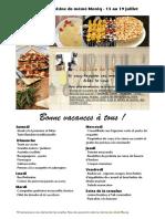 Menu de La Cuisine de Meme Moniq 13 Au 19 Juillet