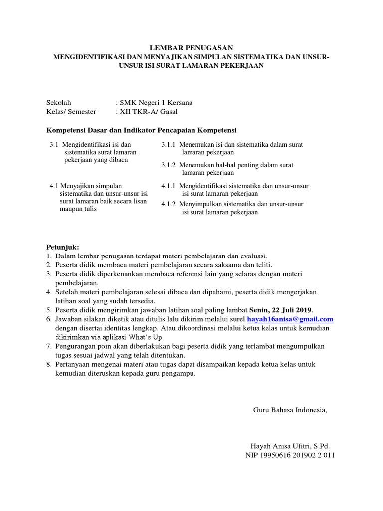 12 TKR-A Surat Lamaran Pekerjaan SMK