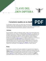 Clave Del Orden Diptera
