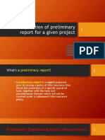 Preparation of Preliminary Report for a Given Project