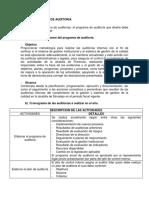 Diseño Del Programa y Plan de Auditorías