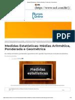 Medidas Estatísticas_ Médias Aritmética, Ponderada e Geométrica