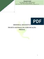 Memorial Descritivo - Projeto Sistema de Comunicacao Predial