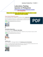 list of laboratory testing