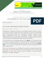 A Crise Das Universidades Públicas No Brasil - Banco de Redações - UOL Educação