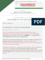 A Privatização e o Aumento Da Desigualdade - Banco de Redações - UOL Educação
