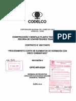 Procedimiento Corte de Elementos de Disco Diamantado Aprobado