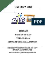 Job Fair Company List