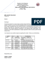 Letter for Thesis to Panel