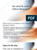 3. Variables and Its Uses in Quantitative Research