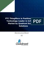 Knowledge Brief PTC ThingWorx IoT Platforms Market 2018 Technology Leader Quadrant Knowledge Solutions