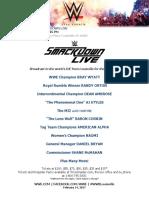 WWE Smackdown LIVE Talent Card KFC Yum Center April 18 Rev0214 Ab03ac7025