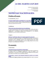 Noticias Del Martes 23.07.2019