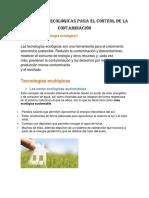 Tecnologías Ecológicas Para El Control de La Contaminación