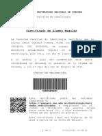 Ejemplo Certificado alumno Regular