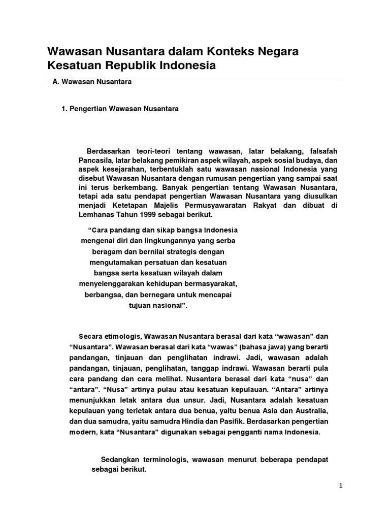 Wawasan Nusantara Dalam Konteks Negara Kesatuan Republik Indonesia
